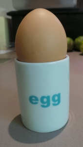 Egg cups don't have to be fancy and can help build vocabulary...