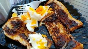 Breakfast: Boiled egg and Vegemite toast fingers.