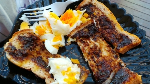 Breakfast: Boiled egg and Vegemite toast fingers.