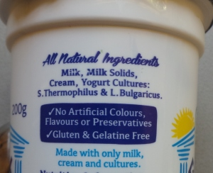 Greek yoghurt label