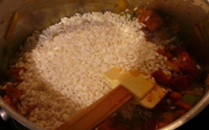Add the rice all at once.