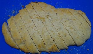 Traditionally biscotti are cut on the diagonal.