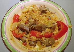 Sausage and rice hot pot