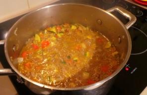 Mince and lentil sauce.