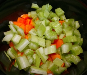 Diced celery completes your aromatics.