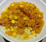 Tikka Masala lentils and steamed millet.