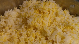 Jasmine rice and millet.