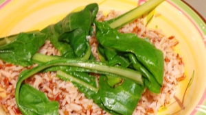 Red and White Rice and Silver-beet.