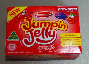 A packet of Strawberry Jelly crystals.